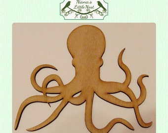 Octopus / Nautical (Small) Wood Cut Out -  Laser Cut