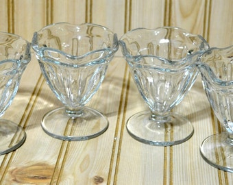 Vintage Parfait Dessert Sundae Ice Cream Cups Old Fashion  Anchor Hocking Set of 4