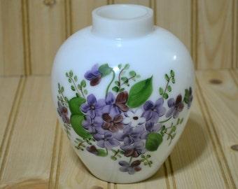 Vintage Milk Glass Oil Lamp Font Base Violet Flowers Vase
