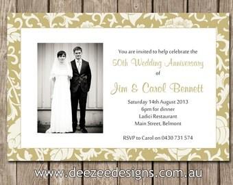 Photo Personalised Wedding Anniversary Invitation 25th 50th - You Print