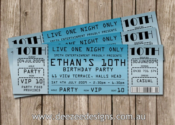 Concert Ticket Style Birthday Invitations You Print – Ticket Style Birthday Invitations