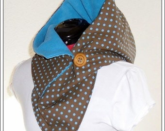 Hooded Scarf - Points brown-petrol