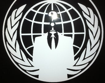 Anonymous sticker  vinyl anon decal globe Antifa choose color