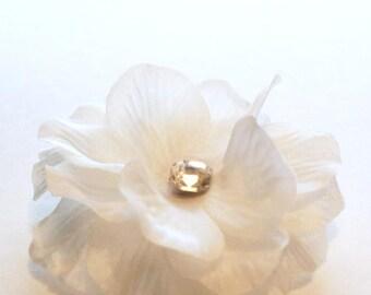 Bridal White Silk Flower Hair Clip