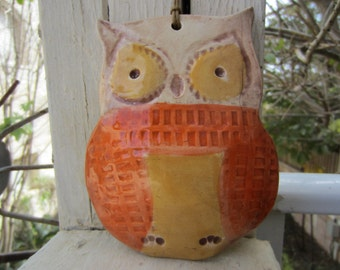 Bright Ceramic Owl in Orange and Gold Garden and Home Decor Yard Art