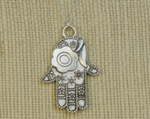 GOING OUT of BUSINESS Hamsa Hand Necklace - Fatima Hand - Evil Eye Necklace - Good Luck Necklace - Silver Hamsa Charm