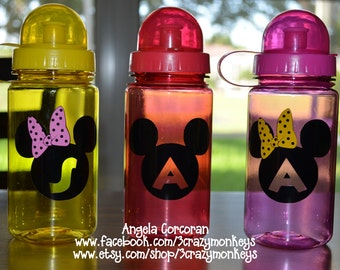 Personalized Water Bottle Mickey Mouse Minnie Mouse Initial Any Color