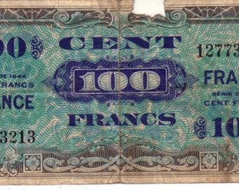 100 francs 1944 France Military Currency Pick 123c