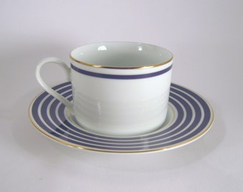 Vintage Sasaki Cup and Saucer, Calista Cobalt, Made in Japan, Cobalt Blue and White Preppy Dishes