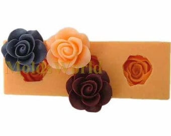 A066 Rose Flower Cabochon 3 Cavity Flexible Silicone Mold Mould for Crafts, Jewelry, Scrapbooking,  (resin, Utee, pmc, polymer clay)