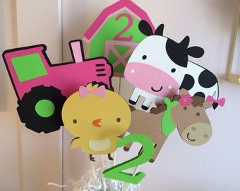 Custom Farm Animal Centerpiece/Cake Toppers