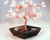 Wire tree sculpture with rose quartz copper gem tree