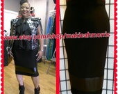 High wasit Pencil skirt with Faux Vegan Leather on the bottom