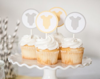 Baby Shower Cupcake Toppers - Yellow Gray - Gender Neutral Shower