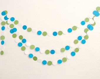 Paper Garland - Baby Shower Decoration - Blue and Green - Party Decor