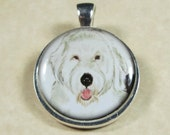 Rescued Old English Sheepdog Round Pendant/Charm - may be personalized