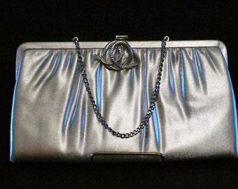 Vintage Silver Purse Handbag  Party Purse Bridesmaid Vintage Accessories Metallic Pocket Book Retro Wedding Purse Evening Purse Snake Clasp