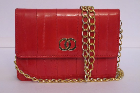 Vintage Eel Skin Purse Bag  Gold Chain Strap Small Party Purse Red Purse Excellent Condition