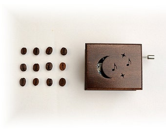 """Wooden music box  with classical music  """"Beethoven: Moonlight Sonata"""" brown coffee coffe chocolate"""