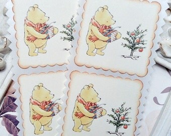 Classic Winnie the Pooh Christmas Stickers / Envelope Seals - Set of 8