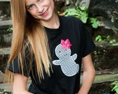 Girly Friendly Ghost Appliqué Halloween T Shirt - Youth and Teen Sizes XS to XL size 4 to 20