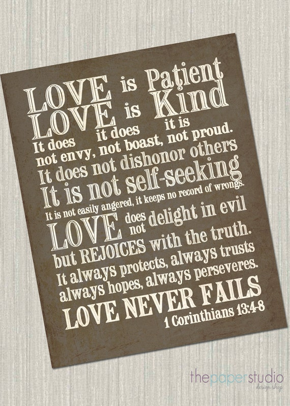 1 Corinthians 13 Subway Art. Love is Patient, Love is Kind...JPEG Download Pack!