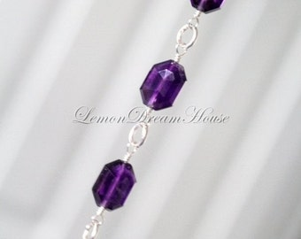 Gemstone Bracelet, African Amethyst Faceted Long Octagon Beads, Sterling Silver Jump Rings and Wire. February Birthstone. Gift. B020.