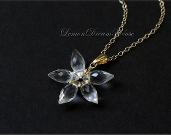 April Birthstone Necklace, Gemstone Flower, Crystal Quartz Faceted Dew Drop Briolettes, Gold-filled Chain and Wire. Nature Inspired. N202.
