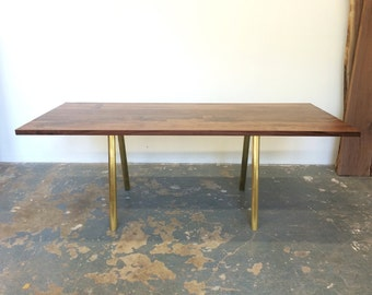 Dining Table - Seats 8-10 - Black Walnut with Solid Brass Base