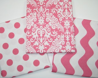 Colorful Pink  Wave Dot and Damask  3 Piece Fat Quarter Set  Print Fabric by Riley Blake