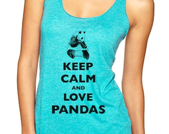 Keep Calm and Love Pandas Soft Tri-Blend Racerback Tank