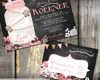 Rustic Mason Jar Wedding Invite and RSVP Chalkboard Wedding Invitation DIY Printable Invitation - Mason Jar Wedding Invitation Stationery