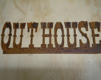 Rustic Metal Outhouse Sign FREE SHIPPING
