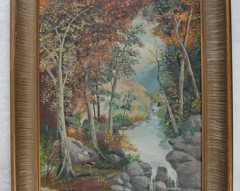 16x22 Framed Landscape Oil Painting Forest in Autumn Stream Waterfall