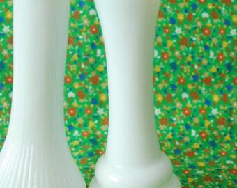 Set of 2 Vintage Milk Glass Bud Vases