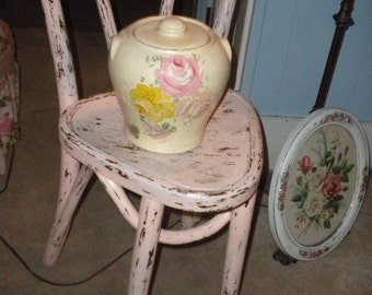 SPECTACULAR Vintage Shabby Chic Colored Covered Crock, Hand Painted, French, French Country, Cottage Chic, Clay