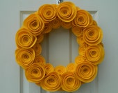 Spring Wreath - Summer Wreath - Bright Felt Flower Wreath in Gold with Pearls in the Large Flowers