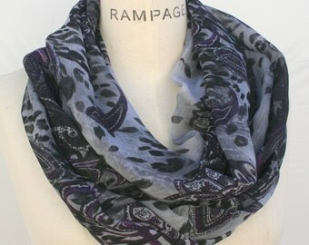 chiffon scarf, womens scarves, paisley print, Purple Infinity Scarf, woman gifts for women for her, Lightweight Scarf, PiYOYO