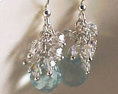 Dazzling Robins Egg Blue Crystal Earrings with Swarvoski Crystal AB tiny Beads in Sterling Silver.