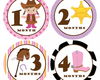 Set of 12 Month 2 Month Baby Cowgirl Collection Monthly Stickers