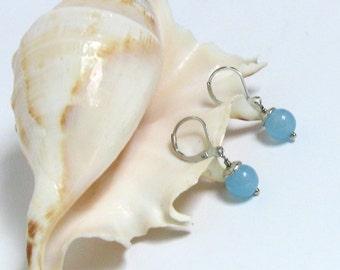Gemstone Jewelry, Gemstone Earrings Blue, Dangle Earrings, Everyday Jewelry, Minimal Earrings Under 20