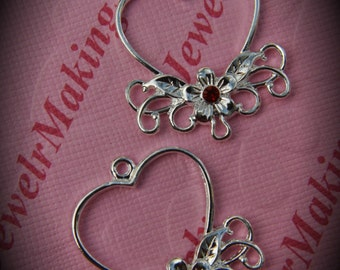 Genuine Silver Plated Swarovski Crystal Heart Chandelier Earrings In Light SIam
