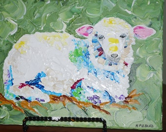 "white sheep-original 9x12"" acrylic pallet knife painting"