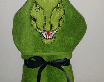 T Rex Dinosaur Hooded Towel