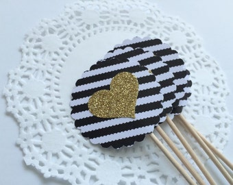20 Black Stripe with Gold Heart Cupcake Toppers.   Birthday Party, Bridal Shower, Pink and Gold.  Food Pick.