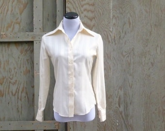 1970s Pucci Ivory Striped Blouse