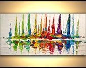 Colorful Sailboats Abstract Acrylic Painting Contemporary modern Abstract Seascape Painting On Canvas Palette Knife by Osnat - MADE TO ORDER