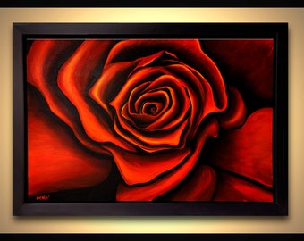"36"" Large Abstract Painting Red Rose Acrylic Painting FRAMED Ready to Hang by Osnat Ready to hang"