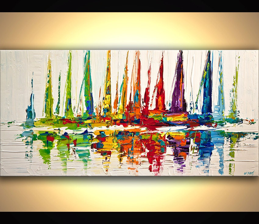 colorful sailboats abstract acrylic painting contemporary. Black Bedroom Furniture Sets. Home Design Ideas