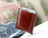 Mini branch brown leather cards case